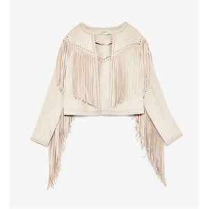 Zara Faux Suede Jacket With Fringe